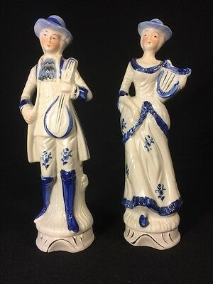 Pair Of Vintage Blue and White Colonial Victorian Couple Porcelain Figurines