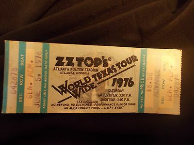 Rare ZZTop World Texas Tour Wide 1976 Atlanta Concert Ticket