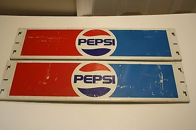 2 Vintage Pepsi Soda Cola heavy metal Store shelf signs from 1970's