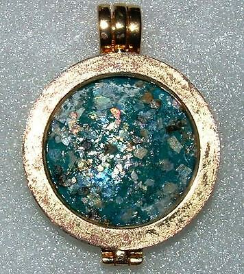 ancient roman glass fragment with very lovely patina pendant.