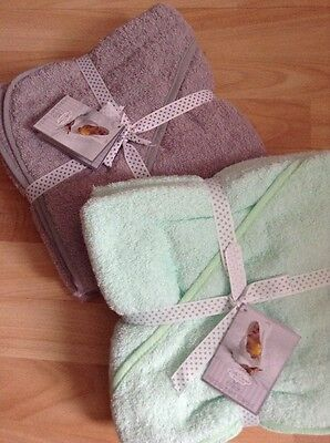 2 Packs Of 2 Hooded New Baby Towel Mint Green & Grey New In Packet 100% Cotton