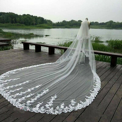 New 3.5M White Ivory Cathedral Wedding Veil Long Lace Bridal Accessories Veils