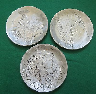 WENDELL AUGUST ORGE COASTERS x 3~WHEAT~FLOWERING THISTLE & DAISY W BUTTERFLY