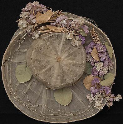 Antique Authentic Wired Ladies Hat w/ Beautiful Flowers Floral