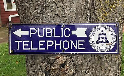 RARE Early Original PUBLIC TELEPHONE Bell System 2 Sided Porcelain Sign Arrow