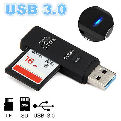 USB 3.0 Card Reader Stick Kartenleser Micro SD SDXC TF 2in1 Memory Kartenadapter