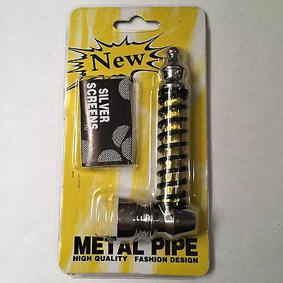 """Gold 4"""" Collectible Smoking Pipe + (5) FREE Pipe Screens"""