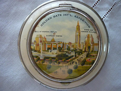 Vintage 'Golden Gate Int'l Expo'  '39/'40-Enamelled Metal Mirror/Powder Compact