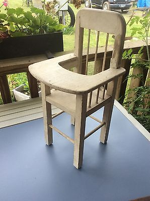 Vintage Wood Doll High Chair, White , 16 Inch Height, Shabby Country