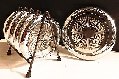 Vtg Mid Century Pressed Glass & Chrome Drink Coasters Park Sherman ~ 6 Pc Set