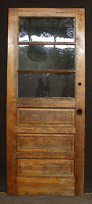 "32""x79"" Vintage Wood Wooden Exterior Entry Side Back Door Wavy Glass Lite Window"