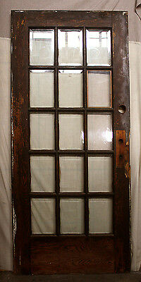 "36""x79.5"" Antique Vintage Oak Wood Wooden French Entry Door Beveled Glass Window"