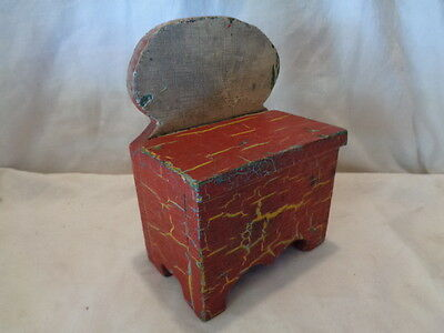 Primitive Antique Small Carved Wood Candle Shelf GREEN RED YELLOW Paint AAFA