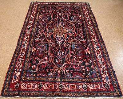 5 x 10 Persian NAHAVAND Tribal Hand Knotted Wool NAVY RED BLUE Oriental Rug