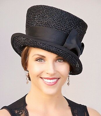 Womens Black Hat Wedding Hat Church Hat Derby Hat, Formal Dress Hat, Funeral hat