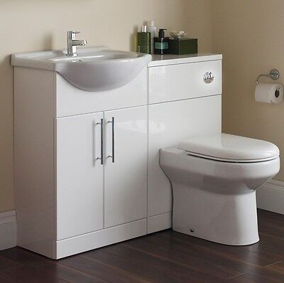 White Vanity Basin Sink Unit Set with Toilet & Tap Cloakroom Suite