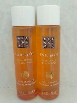 2 x Rituals Fortune Oil Caring Shower Oil 20ml Travel Size Brand New *FAST POST*