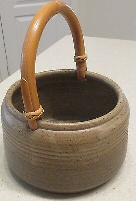 Artist signed unique hand made Green Ceramic Pot w Bamboo Handle