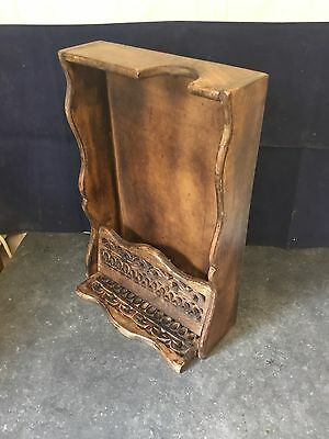 """Unusual Antique / Vintage Wooden Shelf / Stand 15""""  with Folding Front"""