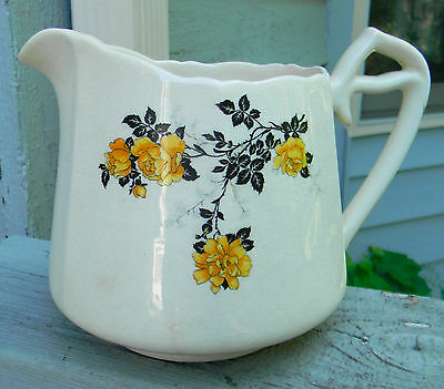 Vntg Argosy W.S. George Ivory short pitcher marked H  328 yellow roses LAST CALL