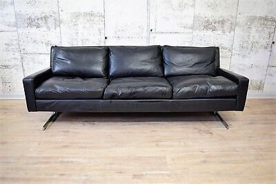 50er 60er jahre schwarzes leder sofa 3er couch. Black Bedroom Furniture Sets. Home Design Ideas
