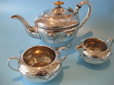Very Nice Antique Victorian Silver Plated Ornate Teapot with Milk & Sugar Bowl