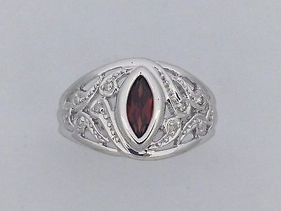 $125 Natural Garnet with Natural Diamond Ring 925 Sterling Silver