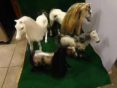 """Plastic horse figurines lot of 4 - 7.5"""" - 10.75"""" - Manes and Tails"""