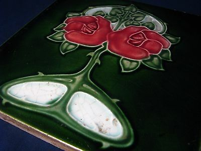 ART  NOUVEAU  MAJOLICA  TILE   BY  T & R  BOOTE - Fine Example