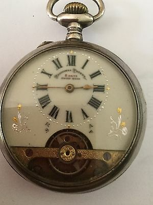 Antique Swiss Made Hebdomas Patent Solid Silver pocket watch