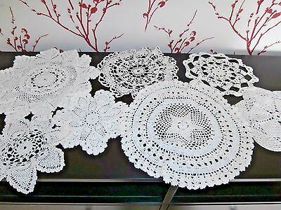 Job Lot (7) Vintage Hand Crochet Lace White Cotton Table Mats/doilies~Various