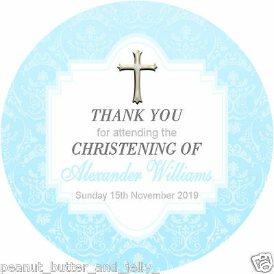 Personalised Christening Baptism Gloss Round Sticker Labels 2 sizes available