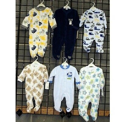 Baby Gear Boys sizes 0-9 month footed plush coveralls 24pcs. [BGNBPCOV]