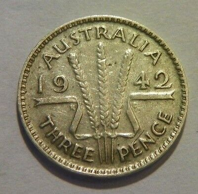 1942-m Australia threepence-Key Date Melbourne mint coin