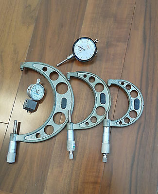 "OUTSIDE MICROMETER 2""-3"" , 3""-4"" , 5""-6"" with thread depth and dial indicator"
