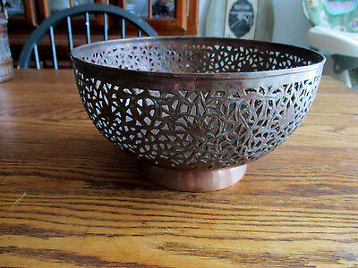 Antique Old Copper Jali Work  Islamic Bowl