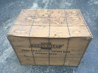 Chevy Chevrolet Dealership Wood Parts Crate Rare Detroit Display Sign Flint