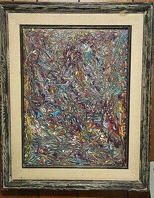 Framed Oil on Canvas Abstract Scene Painting. Signed. K.appel.