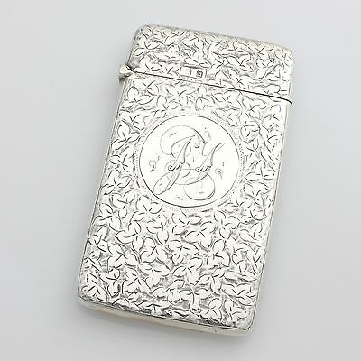 Antique Edwardian Solid Sterling Silver Engraved Card Case Hallmarked 1901
