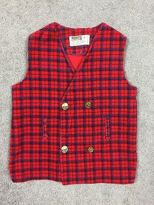 Vintage Kid's Montgomery Ward Plaid Corduroy Double Breasted Vest. PICTURE DAY!