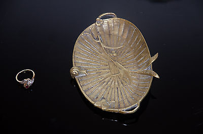 French antique bronze Art Nouveau Snail Tray trinket pin coin business card