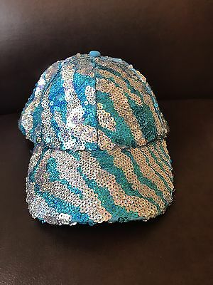 Justice Silver/Blue Sequin Girls Newsboy Hat - One Size