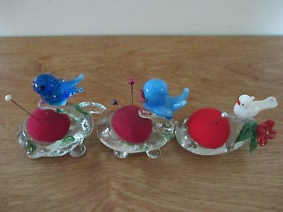 3 Vintage glass bird Pin cushions