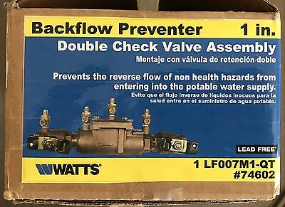 """Watts Lf007M1-Qt Double Check Valve Assembly 1"""" Lead Free New"""