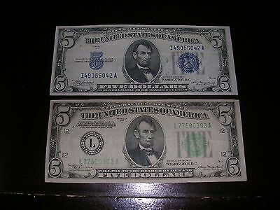 1934A $5 Silver Cert. Note And 1934A $5 F. R. NOTE (Face Value $10)