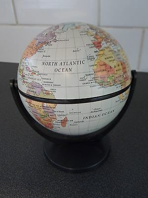 """Multi Rotating Small World Globe, Metal with Plastic Stand 5.5"""" Height."""
