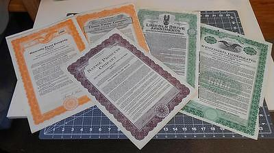 Vintage U.S. Gold Bonds - Scripophily - Mixed Lot of 5 Certificates & Coupons