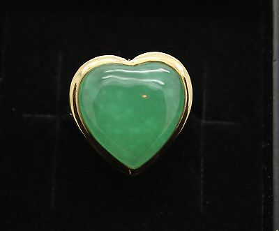 BRAND NEW Gold Jade Heart Ring Solid 14ct Gold