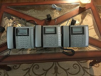 Lot of 3 RCA 25413RE3-A 4-Line intercom executive business phones-USED CONDITION