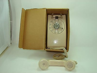 Vintage 1970s Rotary Dial White Phone Wall Telephone Refurbished by factory